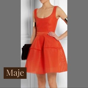 MAJE Red Orange Mesh Dress SZ 1